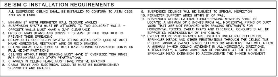 seismic installation requirements