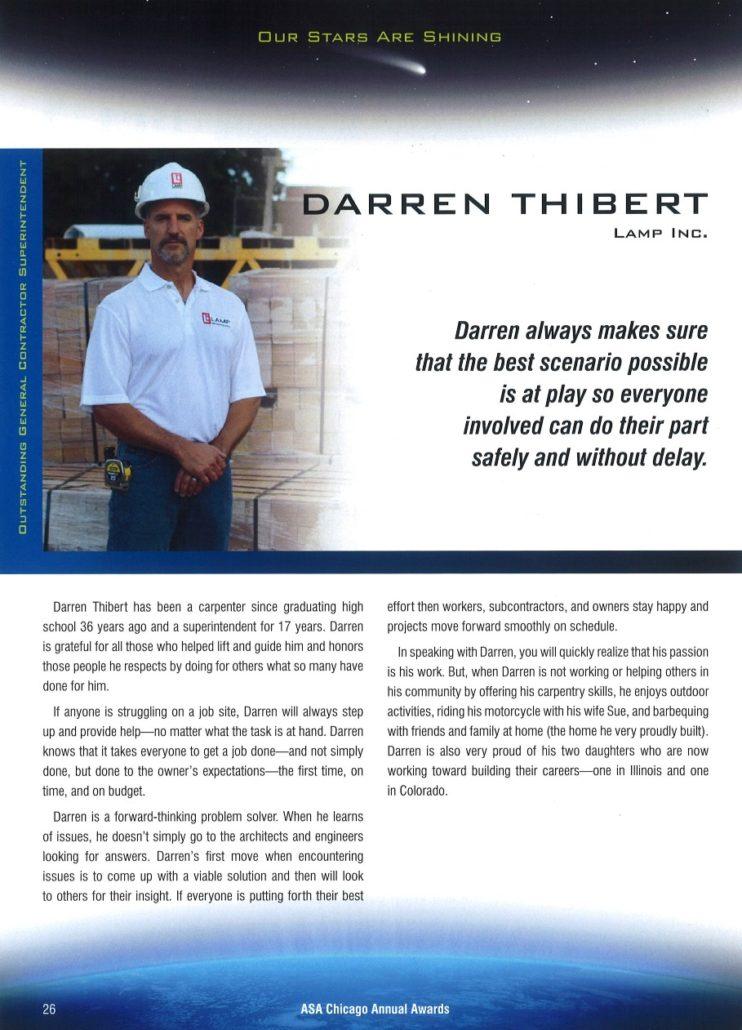 Darren Thibert ASA General Contractor Superintendent for 2021